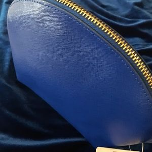 Neiman Marcus Royal Blue Leather Cosmetic Bag